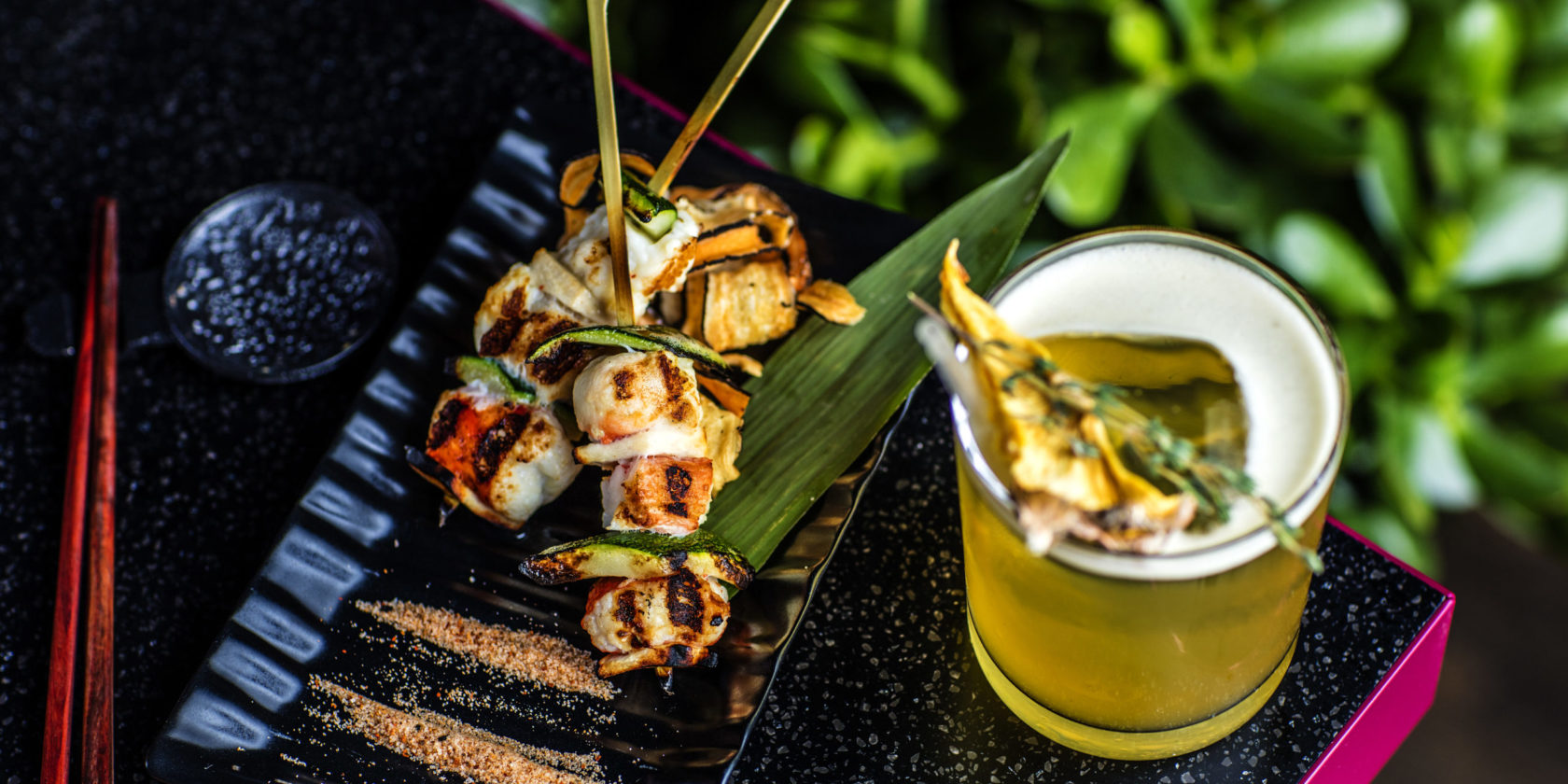 Scallop and Asparagus Skewers with Specialty Cocktail